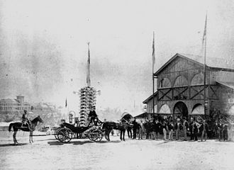 Brisbane Exhibition Ground - Governor's party arriving at the Queensland Intercolonial Exhibition, 1876