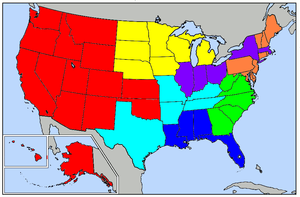 National Reporter System - Map of the U.S., showing areas covered by the Thomson West National Reporter System state law reports.