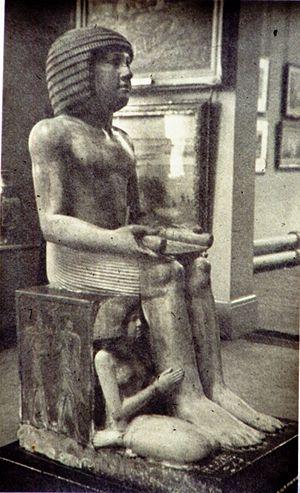 Northampton Sekhemka statue - Statue of Sekhemka on display in Northampton Museum and Art Gallery 1950s