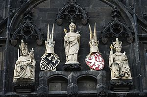 Lands of the Bohemian Crown - Coats of arms of the Holy Roman Empire and the Bohemian Crown on the Tower of Charles Bridge in Prague.