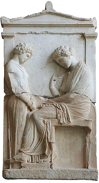 Slavery in ancient Greece - Funerary stele of Mnesarete, daughter of Socrates; a young servant (left) is facing her dead mistress. Attica, c. 380 BC. (Glyptothek, Munich)