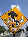Stickers en señalamiento vial en puente de Tlaxcala.jpg