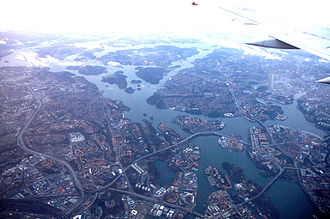 Geography of Stockholm - January 2007 aerial view of western Stockholm and Lake Mälaren.