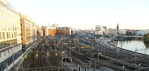 Stockholm Central Station - Stockhom Railway Station, view from the bridge