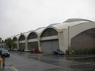 Stockwell Garage - External view of the northwest corner of the garage, on Lansdowne Way (left) and Binfield Road (right)