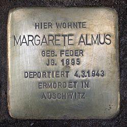 Photo of Margarete Almus brass plaque