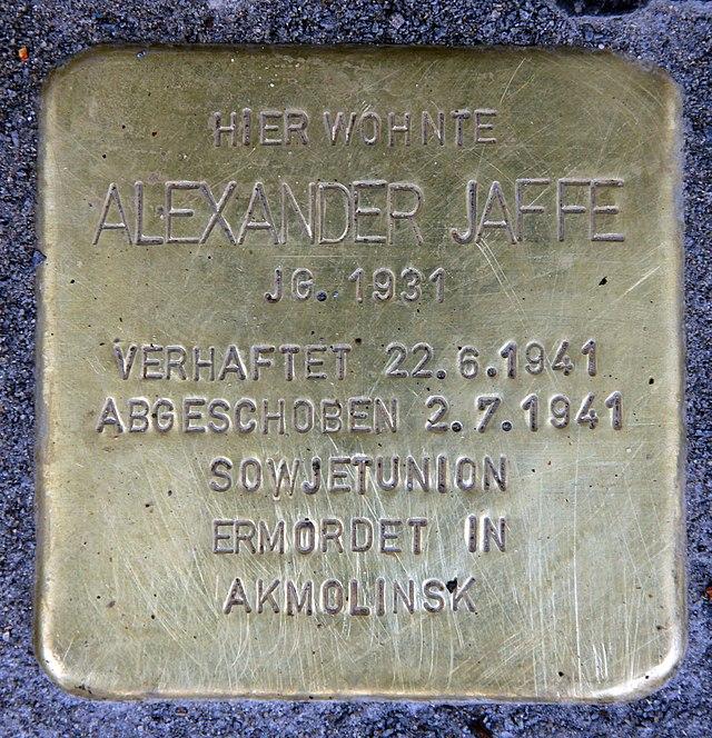 Photo of Alexander Jaffe brass plaque