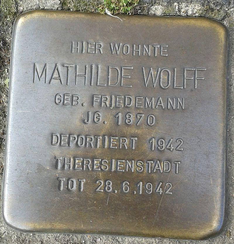 Stolperstein Hennef Bonner Straße 69 Mathilde Wolff geborene Friedemann