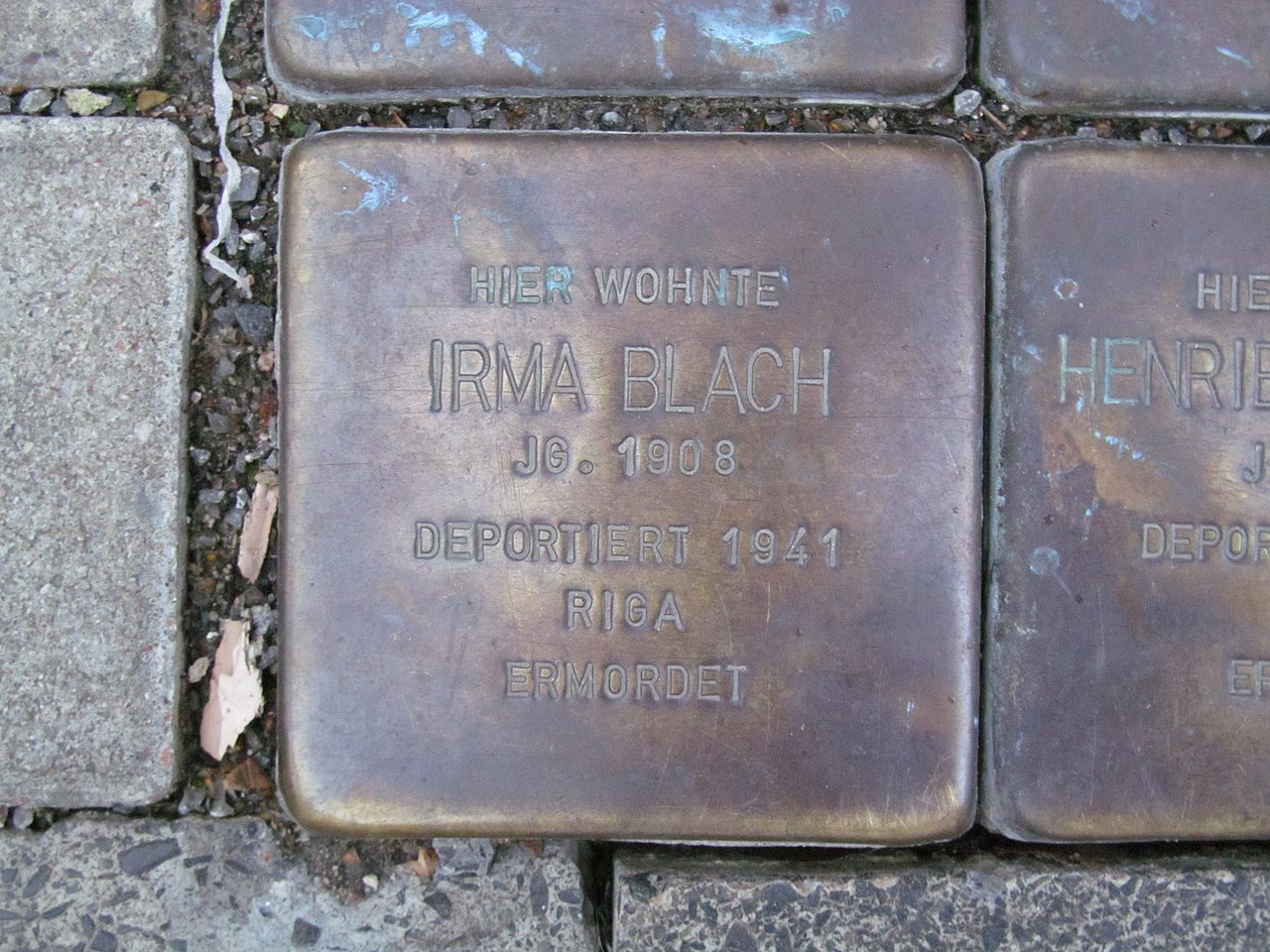 der Stolperstein für Irma Blach