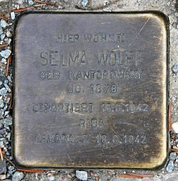 Photo of Selma Wolff brass plaque