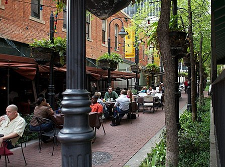Stone Street Gardens is lined with bistros, pubs, and restaurants connecting Main to Elm Streets in Downtown Dallas Stone Street Gardens in Downtown Dallas, 04-01-11.jpg