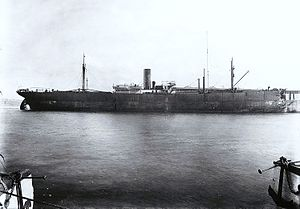RMS Empress of Ireland - SS Storstad in Montreal after the collision. Note the damage to the bow