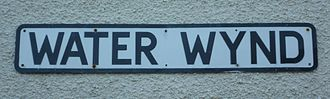 Wynd - Street sign leading to the harbour in the Scottish fishing village of Pittenweem