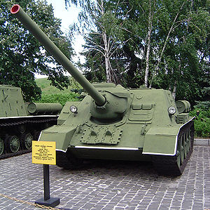 D-10 tank gun - D-10S gun on an SU-100 tank destroyer