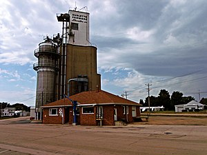 Sublette, Illinois - Sublette Farmers Co grain silo in downtown Sublette