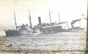 SS Suevic - Salvage operations on the White Star liner Suevic. The X-X indicates where she is being cut in two. The A-A portion will be left on the rocks.