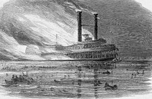 Sultana (steamboat) - Sultana on fire, from Harpers Weekly.