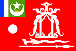 The official flag of the Royal Sultanate of Sulu under the guidance of HRH Raja Muda Muedzul Lail Tan Kiram of Sulu.