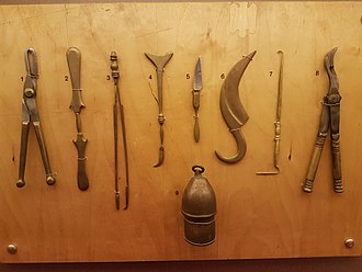 Ancient Greek medicine - Surgical tools, 5th century BC. Reconstructions based on descriptions within the Hippocratic corpus. Thessaloniki Technology Museum