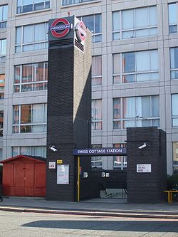 Swiss Cottage stn east entrance.JPG