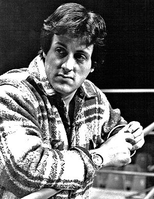 Sylvester Stallone - Stallone at the Ken Norton / Duane Bobick boxing match in 1977