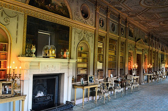 Adam style, interior of Syon House in London, designed by Robert Adam in 1760s Syon House, Long Gallery.jpg