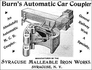Janney coupler - Syracuse Malleable Iron Works - 1894. Transition knuckle coupler. The gap in the knuckle accommodates the link of a link and pin coupler and the vertical hole in the knuckle accommodates the pin.