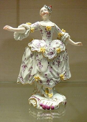 Pannier (clothing) - Image: Tänzerpaar Höchst 1755 Tänzerin