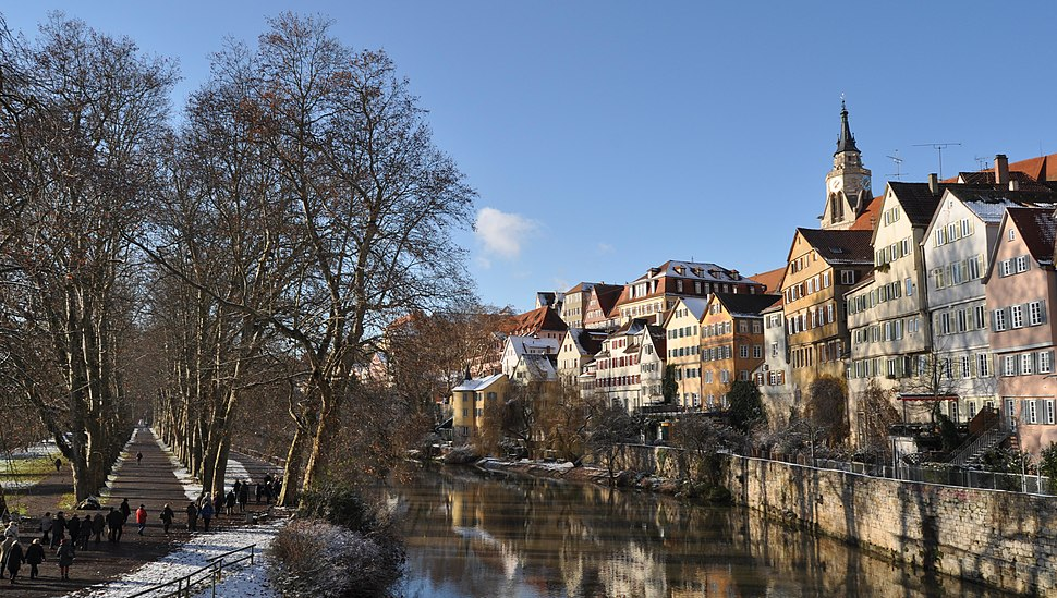 Tübinger Neckarinsel in Winter