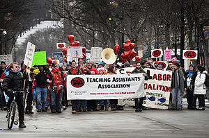 Teaching Assistants Association - The Teaching Assistants Association (TAA) marching down State Street in downtown Madison, February 14, 2012