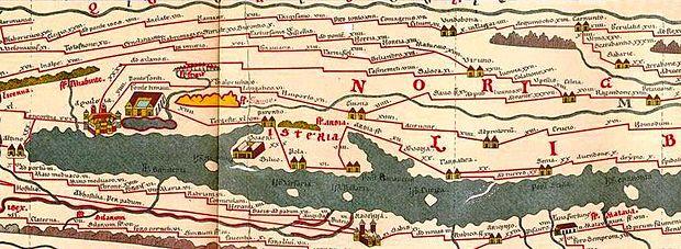 L'abitato di Aemona è rappresentato anche nella Tabula Peuntingeriana, che rappresenta le vie di collegamento dell'Impero romano nel I secolo a.C.