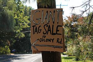 Garage sale - A garage sale advertisement sign.