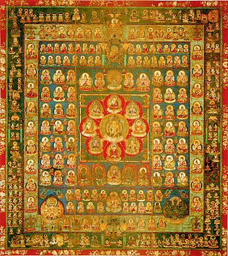 Buddhist art in Japan - Taizokai (Womb World) mandala, second half of ninth century. Hanging scroll, color on silk. The center square represents the young stage of Vairocana Buddha.