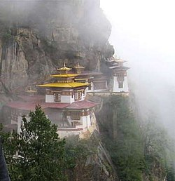 """The Taktshang Monastery, also known as the """"Tiger's Nest"""". Bhutan is a predominantly Buddhist country, with the religion forming an integral part of everyday life."""