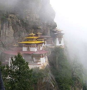 "Taktshang Goemba or ""Tiger's nest"" of Buddhism in Bhutan. Located on a cliff 900 meters high, Parowan city"