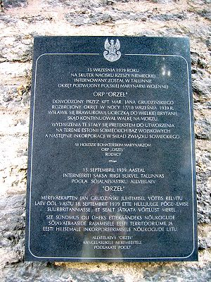 "ORP Orzeł (1938) - The stone commemorating the ""Orzeł incident"" and the escape of the submarine Orzeł in 1939, - in both Polish and Estonian languages, Estonian Maritime Museum, Tallinn"