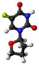 Ball-and-stick model of the tegafur molecule