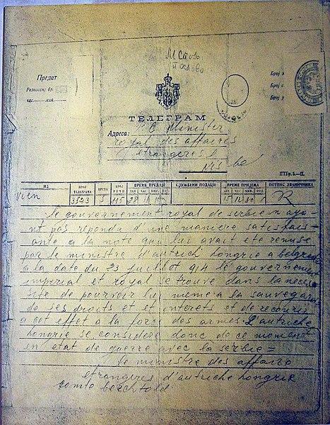 Telegrama de Austria-Hungría, declarando la Guerra a Serbia, el 28 de julio de 1914.