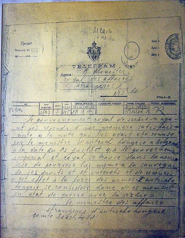 Declaración de guerra contra el Reino de Serbia por parte del Imperio austrohúngaro