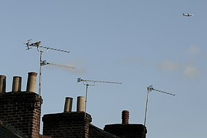 Television in the United Kingdom - Image: Television aerials mounted on chimneys