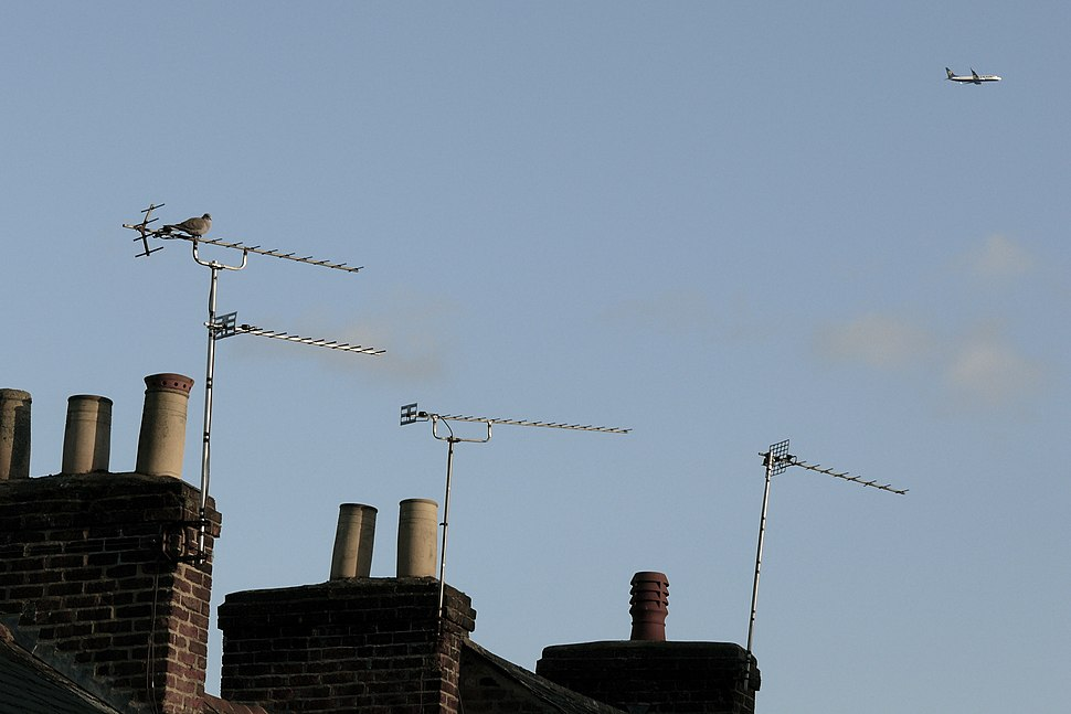 Television aerials mounted on chimneys