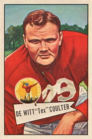 Tex Coulter - Coulter on a 1952 Bowman football card