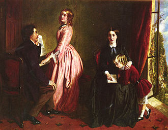 Governess - In Rebecca Solomon's 1851 painting The Governess, the title figure (seated right, with her charge) exhibits the modest dress and deportment appropriate to her quasi-invisible role in the Victorian household.