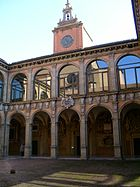 The Archiginnasio, Bologna, Italy, the wing with the Anatomical theatre