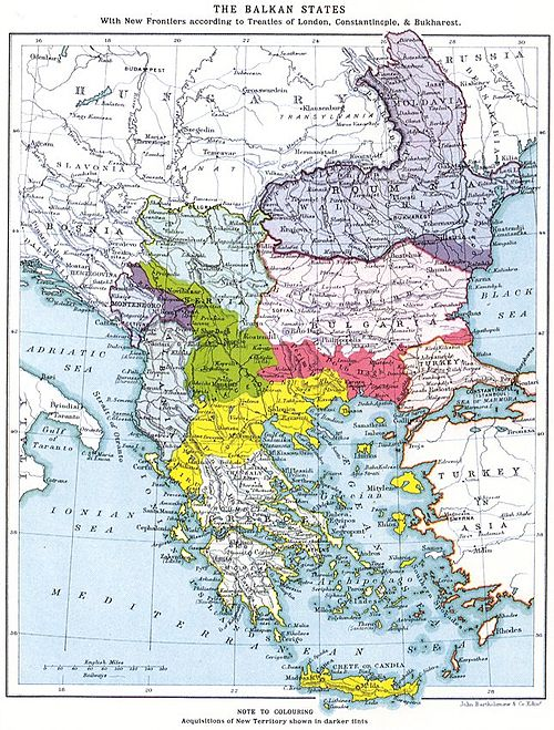 Map showing the final territorial gains of the Balkan countries after the Balkan Wars The Balkan boundaries after 1913.jpg