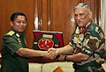 The Chief of Army Staff, General Bipin Rawat and the Commander-in-Chief of the Myanmar Defence Services, Sr. Gen. U Min Aung Hliang exchanging the memento, in New Delhi on July 14, 2017.jpg