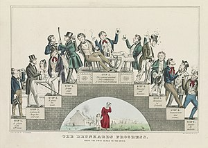 Prohibition in the United States - The Drunkard's Progress: A lithograph by Nathaniel Currier supporting the temperance movement, January 1846