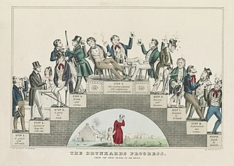 Temperance movement - The Drunkard's Progress (1846) by Nathaniel Currier warns that moderate drinking leads step-by-step to total disaster