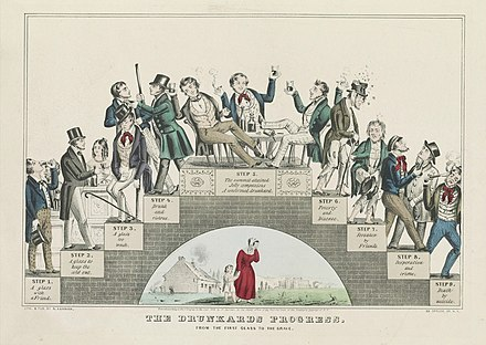The Drunkard's Progress -- moderate drinking leads to drunkenness and disaster: A lithograph by Nathaniel Currier supporting the temperance movement, 1846 The Drunkard's Progress - Color.jpg