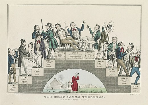 The Drunkard's Progress, a lithograph by Nathaniel Currier supporting the temperance movement (January 1846) The Drunkard's Progress - Color.jpg